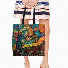 abstract painting printed canvas tote casual beach bags large capacity women single ping bag daily use