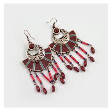 dark red beaded big statement chandelier earrings