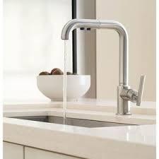 kohler purist 1 8 gpm single lever handle deckmount kitchen sink faucet 360 degree swivel high