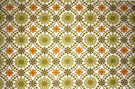 Contemporary Kitchen Wallpaper Texture Green And Orange Flower Inspiration