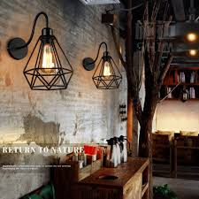 loft industrial iron cage. Vintage Rustic Industrial Loft Lamps Metal Iron Cage Sconce Wall Light Lamp R