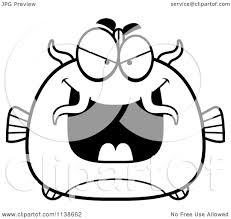 Small Picture Cartoon Clipart Of A Black And White Sly Catfish Vector Outlined