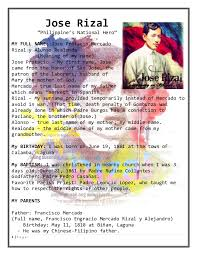 Life And Works Of Rizal Simple Biodata Complete