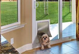 pet door in a sliding glass door wit