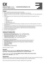 Brilliant Freelance Sound Engineer Cv Resume Template Featuring