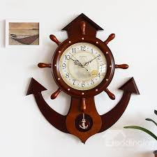 vintage seafaring theme anchor design wooden wall clock