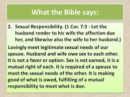Wife's sexual requirements of her husband