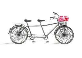 watercolor tandem bike with flower basket print bicycle wall
