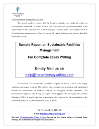 sample report on sustainable facilities management by instant essay w 9