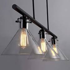 3 light large island pendant light in clear glass industrial cone chandelier in black for pool