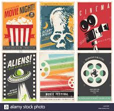 Film Genres Cinema Posters Collection With Different Movie And Film