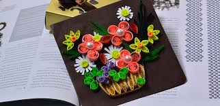 Paper Quilling Rose Flower Basket How To Make A Beautiful Quilling Paper Flower Basket For Cards Step