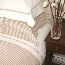gingham duvet cover in white and tan
