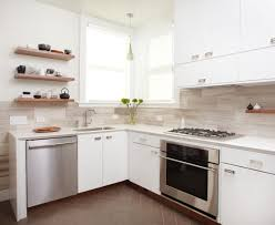 Wall Mounted Kitchen Cabinets Three Brown Wooden Wall Mounted Shelves Above L Shaped White