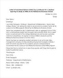 recommendation letter for professor sample mba recommendation letter 6 examples in word pdf