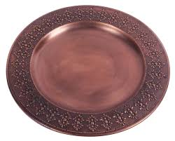 Decorative Metal Tray Round Iron Decorative Tray Antique Brass Color Hand Engraved