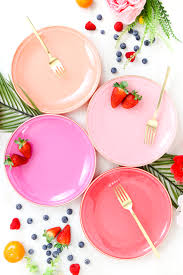 diy your own colorful plates with gold edges similar to dinner ware you would see in