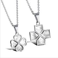 couple four leaf clover pendant necklace natural shell stainless steel charm accessories zapals com