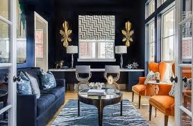 navy blue living room. Modern Living Room With Navy Blue Walls