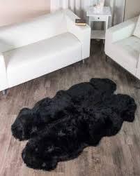black sheepskin rug. 4 Pelt Charcoal Black Sheepskin Fur Rug (Quatro)