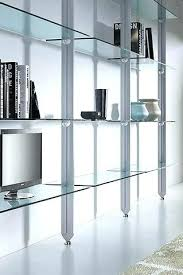 amazing glass shelving unit white oak shelf room divider u k with wooden living for wall ikea