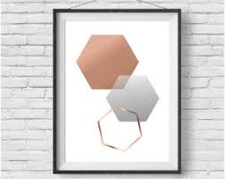 rose gold and silver wall art