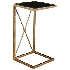 lexington modern classic antique gold black glass side table kathy kuo home
