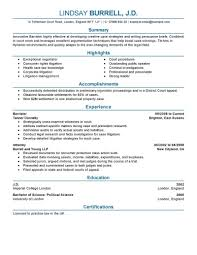 Resume Format Law Resume For Study