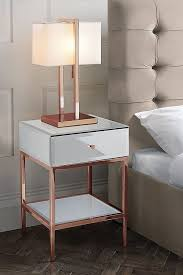 sti toughened white glass and rose gold side table