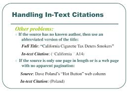 Ppt Citing Sources Using In Text Citations Powerpoint