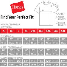 Hanes Nano Tee Size Chart Hanes Mens Shirt Size Chart Arts Arts