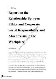 iba management concepts thinkswap ethics and csr in the workplace pertaining to absenseeism sickies