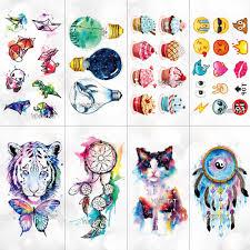 Cute Watercolor Cartoon Design Temporary Tattoo For Kids Children