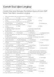 Latihan soal cpns 2 plus kunci jawaban harukaedu. Contoh Soal Ujian Lengkap Contoh Soal Ujian Semester Pendidikan Agama Kristen Smp Kelas 7 Dan Kunci Jawaban Lengkap