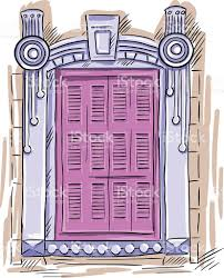 vintage window drawing. hand drawn window. vintage artistic architecture window with pink shutters royalty-free stock vector drawing