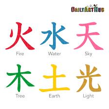 Chinese Symbol Of Light Japanese Kanji Elements Clip Art Set Japanese Kanji