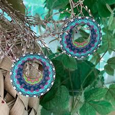 <b>BOHEMIAN Boho</b> Chic <b>Round</b> Wood Dangle Earrings Colorful ...