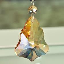 5pcs crystal suncatcher maple leaf pendant champagne crystal prisms chandelier decor lamp hanging party decor wedding
