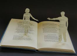 other times she creates a true 3d sculpture using the book pages such as in the hazel tree