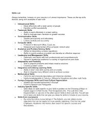 skills list resume  resume cover letter template