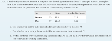 it has been hypothesized that the mean puls com urgent stat 200 help mind on statistics 5th edition