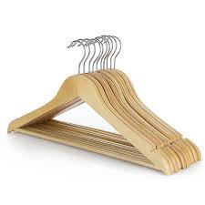 natural wooden clothes hanger with non slip trouser bar 45cm