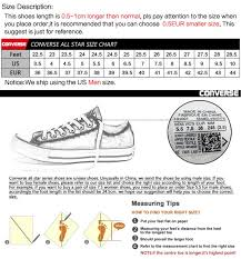 Converse Us Size Chart Original Converse Unisex High Top Skateboarding Shoes Canvas Sneakers