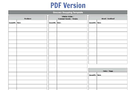 Shopping List Template Excel Insanity Grocery List Template Weekly