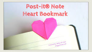 valentine s day craft diy heart bookmark with post it r notes how to fold paper origami heart you