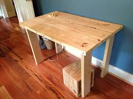 My first prototype wooden desk. Learned how to glue boards together and  drill dowel holes. Without aprons, it wobbled.