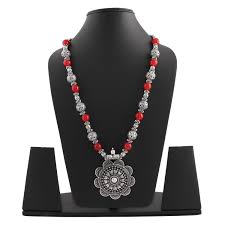 empress of floret silver pendant red stones silver beads necklace