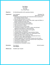 bartending resume templates with no experience template outstanding details  you must put in your awesome creative