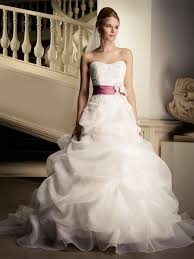 stunning floor length organza wedding dress with pink belt swwd010