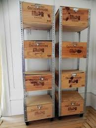 Make your own industrial wine crate shelf on wheels